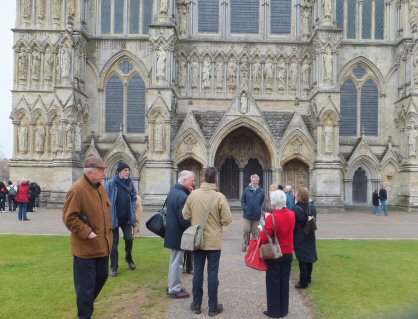 Some Borrovians with Margaret outside Salisbury Cathedral